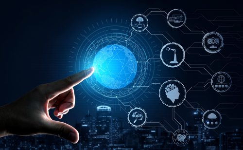 Finger pointing to digital transformation