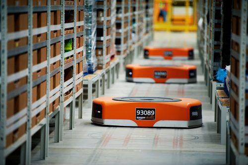 Amazon package fulfillment robots