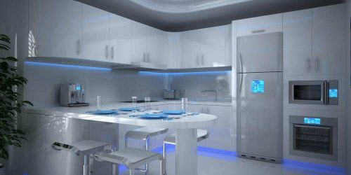 High tech kitchen with IoT devices